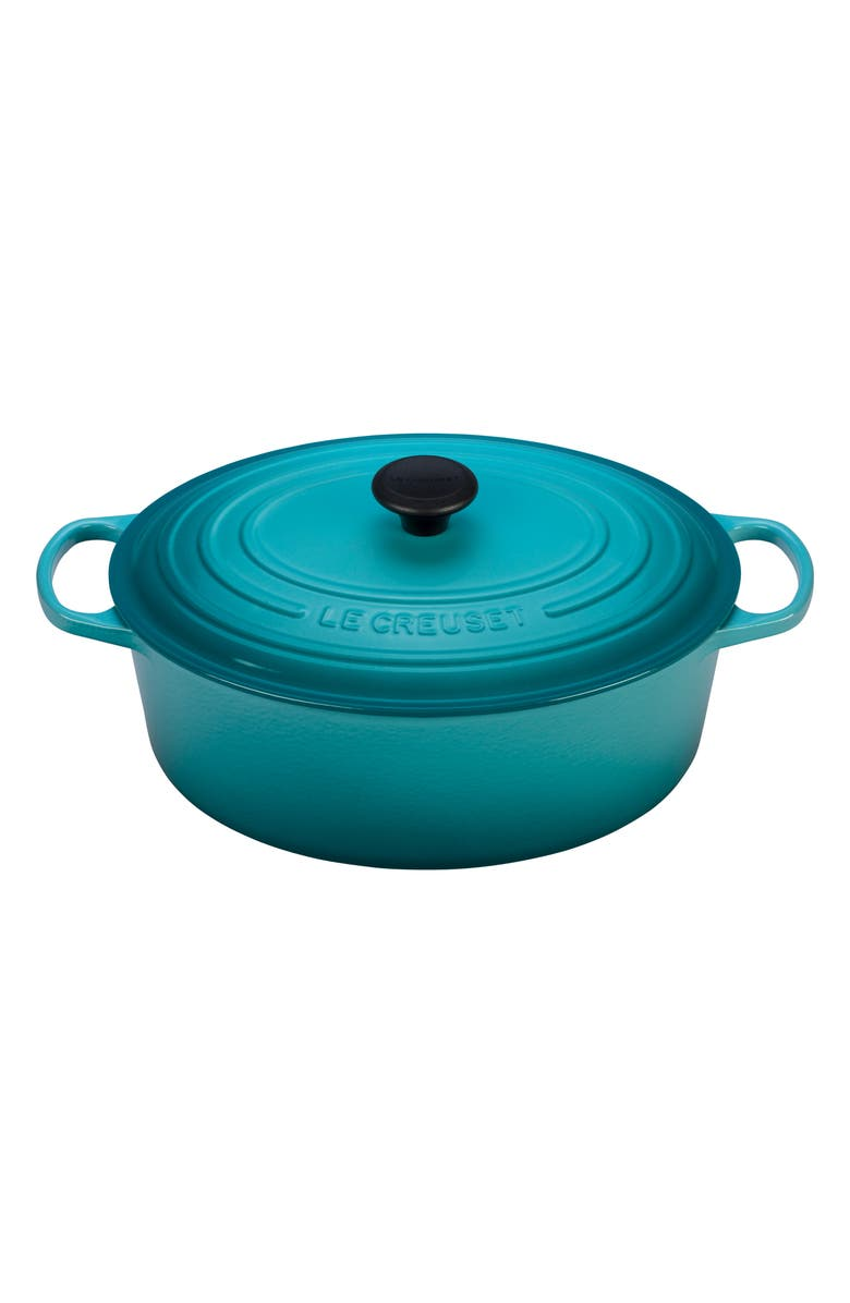 LE CREUSET Signature 8-Quart Oval Enamel Cast Iron French/Dutch Oven, Main, color, CARIBBEAN