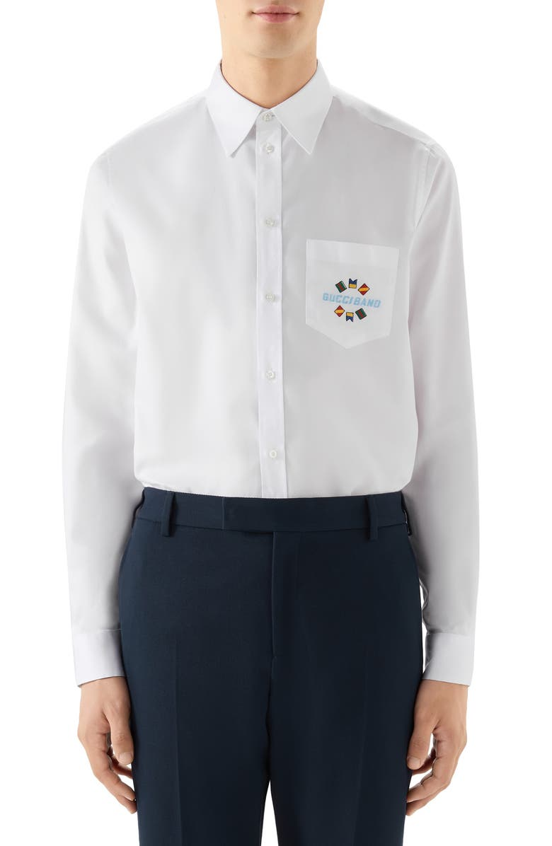 GUCCI Band Embroidered Cotton Button-Up Shirt, Main, color, WHITE