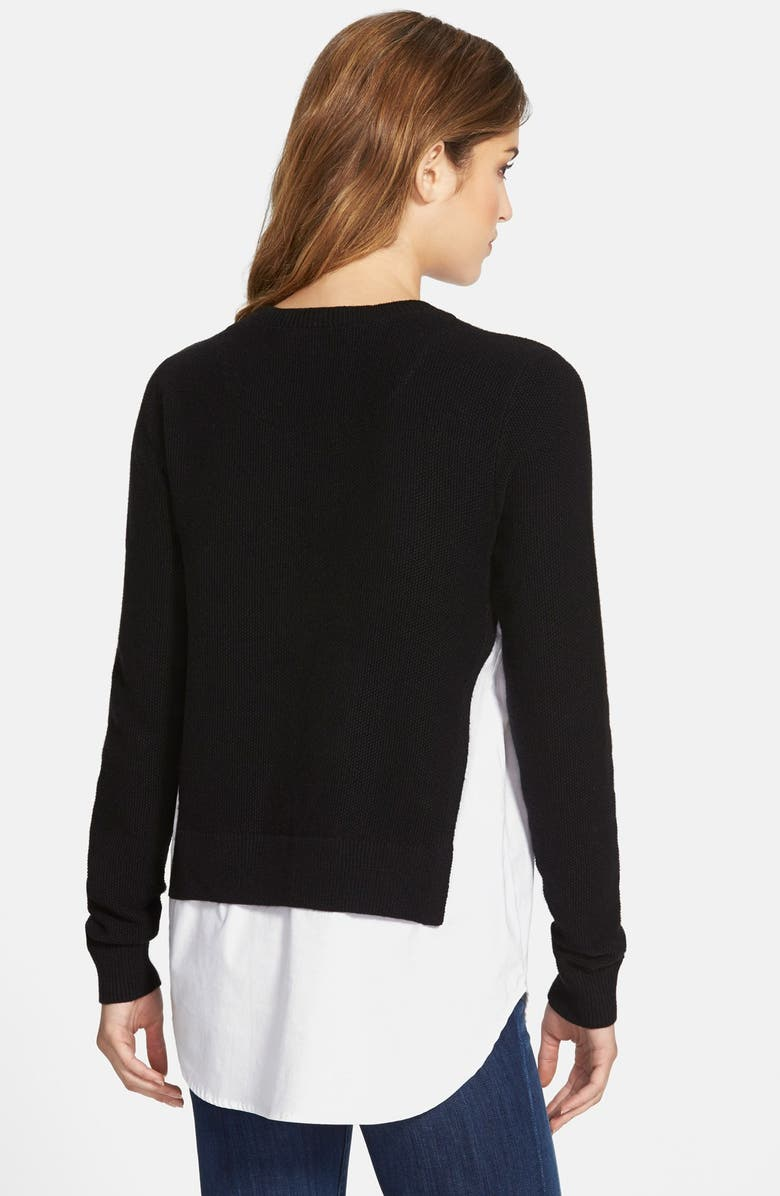 TREASURE & BOND Treasure&Bond Layered Shirttail Sweater, Main, color, 001