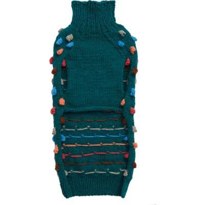 Lovethybeast Rainbow Pom Knit Dog Sweater, Blue