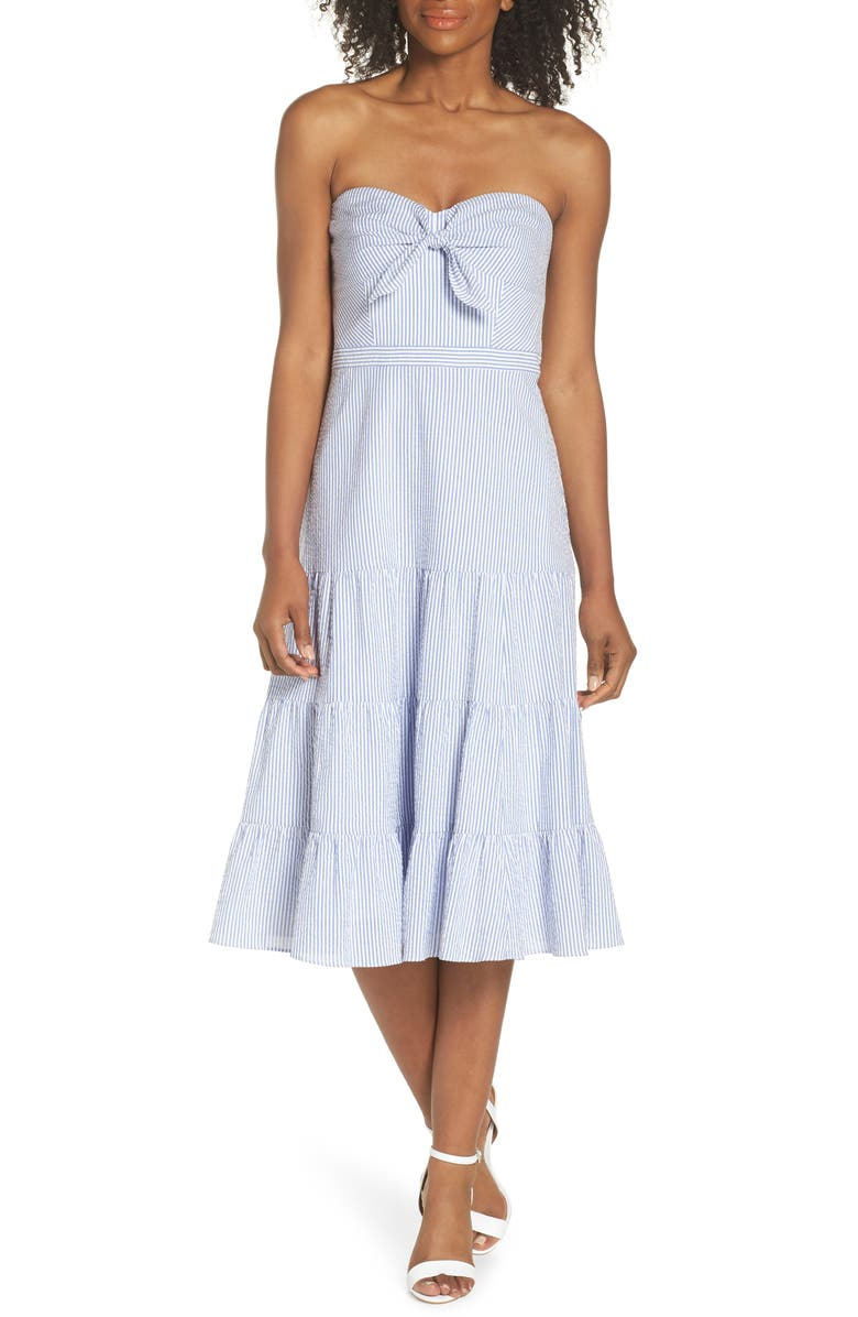 J.CREW Tie Front Strapless Dress, Main, color, 401
