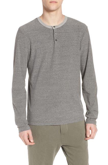 Image of James Perse Regular Fit Micro Stripe Henley Shirt