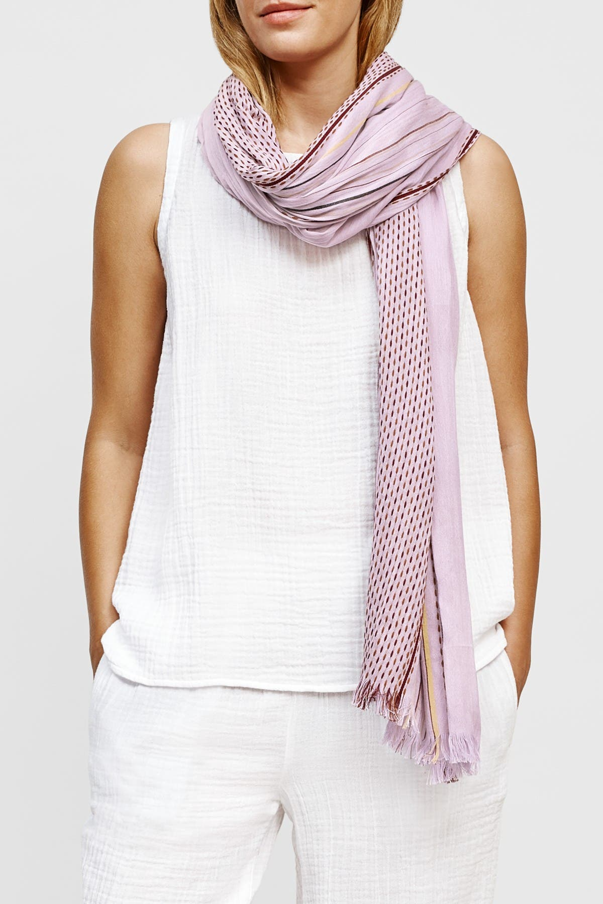 Image of Eileen Fisher Organic Cotton Stitched Stripe Scarf