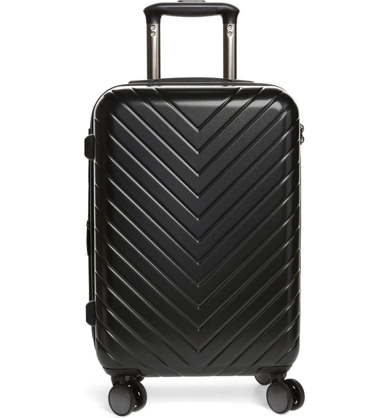 NORDSTROM Chevron 20-Inch Spinner Carry-On, Main, color, BLACK