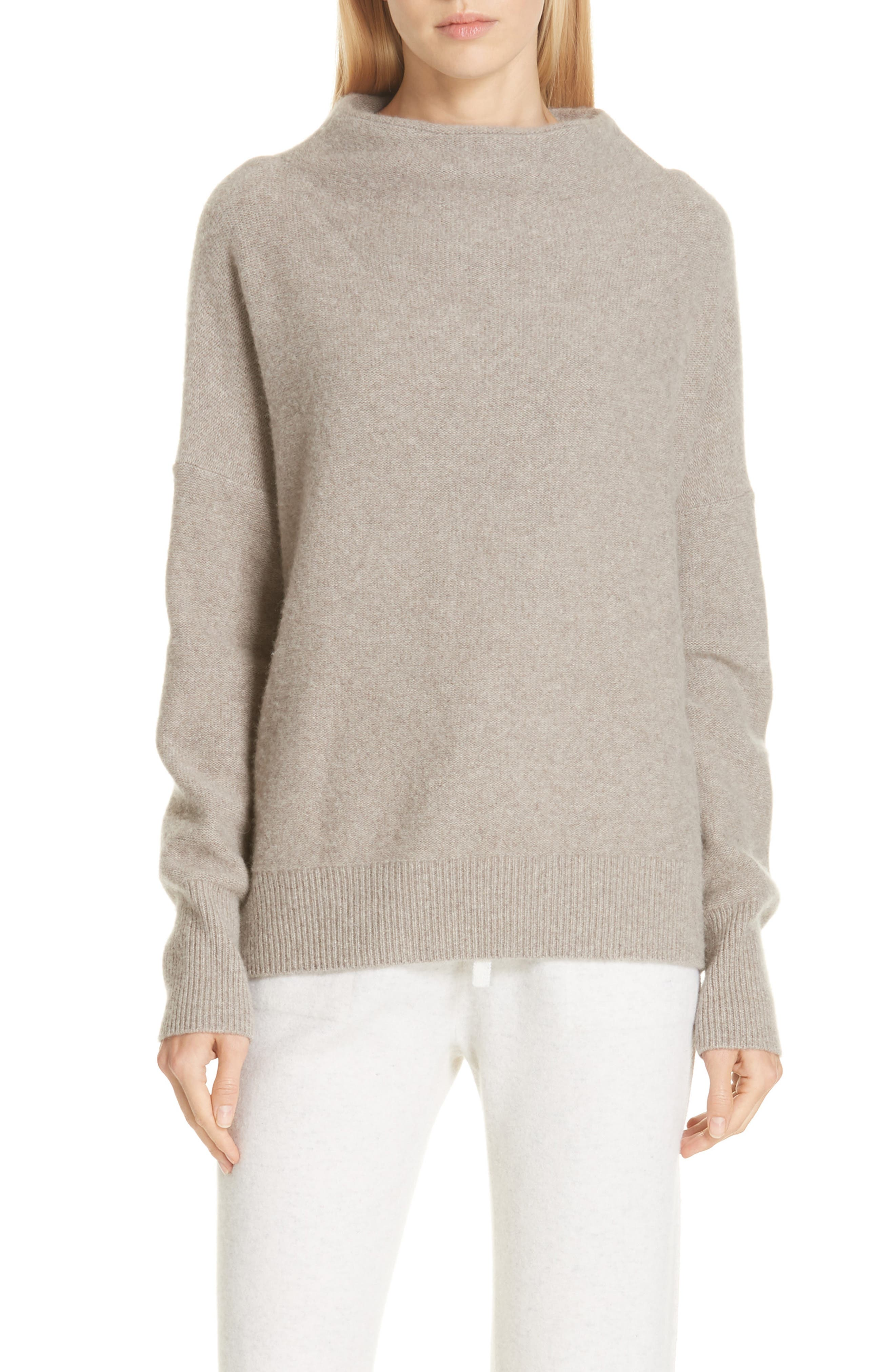 ,                             Funnel Neck Cashmere Sweater,                             Main thumbnail 1, color,                             201