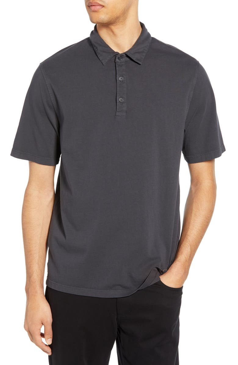 VINCE Garment Dyed Slim Fit Polo, Main, color, WASHED BLACK