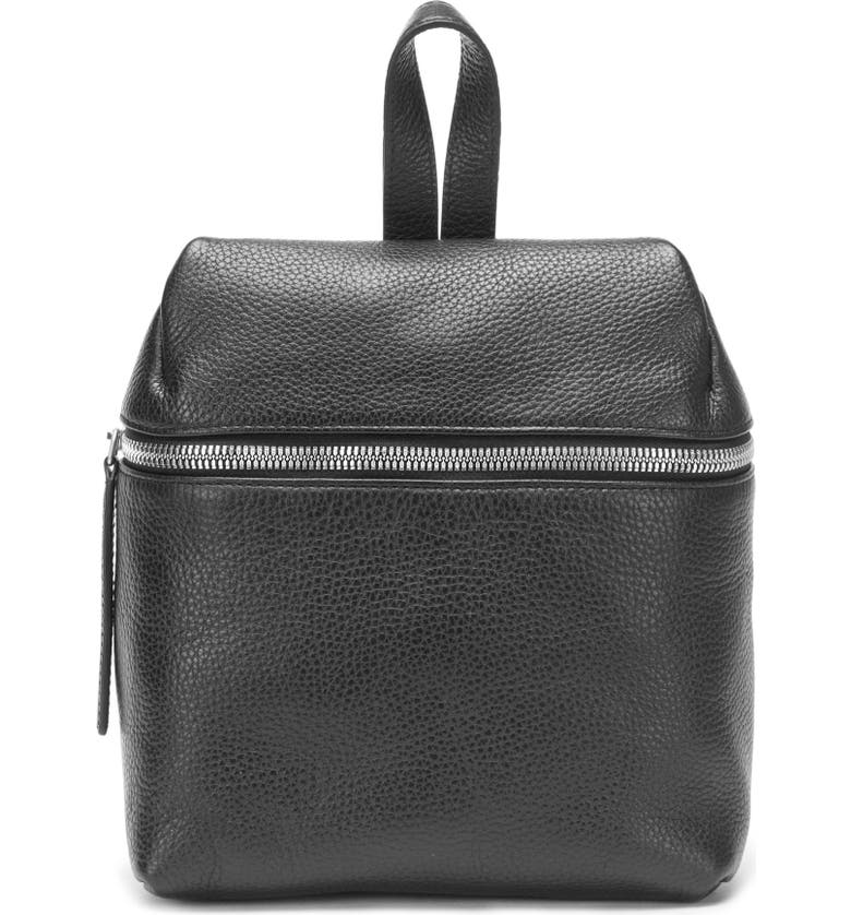 KARA Small Pebbled Leather Backpack, Main, color, 001