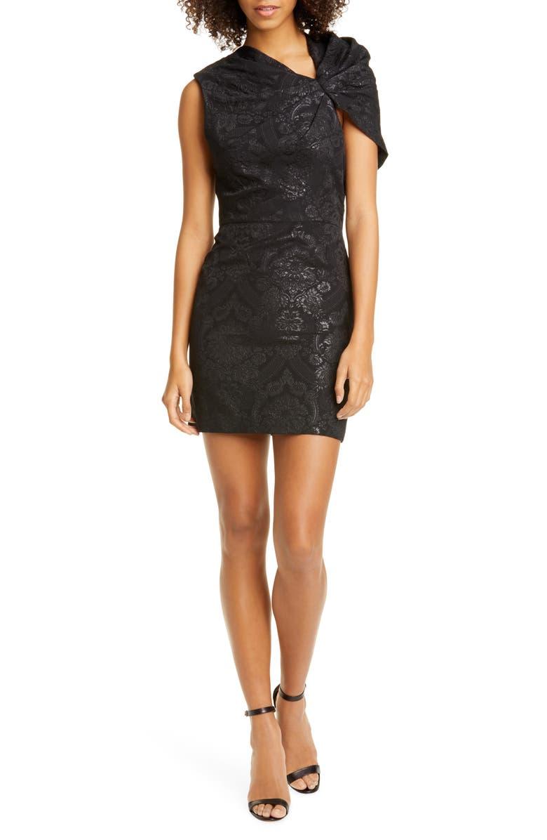 ALICE + OLIVIA Kiro Ruffle Shoulder Minidress, Main, color, BLACK