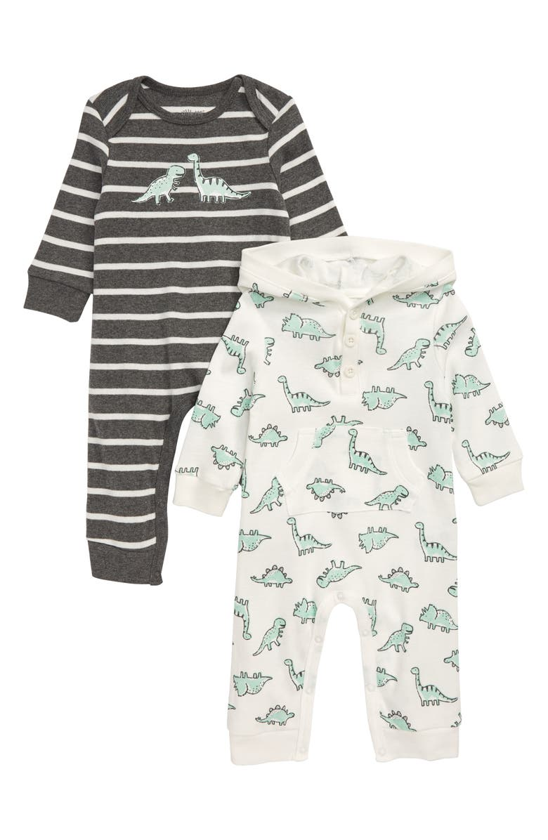 LITTLE ME Dinosaur 2-Pack Rompers, Main, color, GREY HEATHER