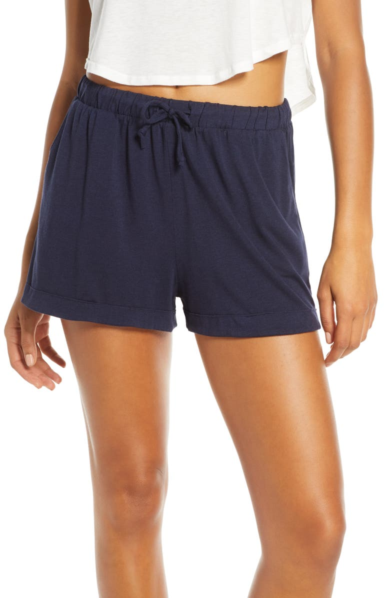 GROCERIES APPAREL Sydney Tencel<sup>®</sup> Lyocell & Organic Cotton Blend Lounge Shorts, Main, color, INK
