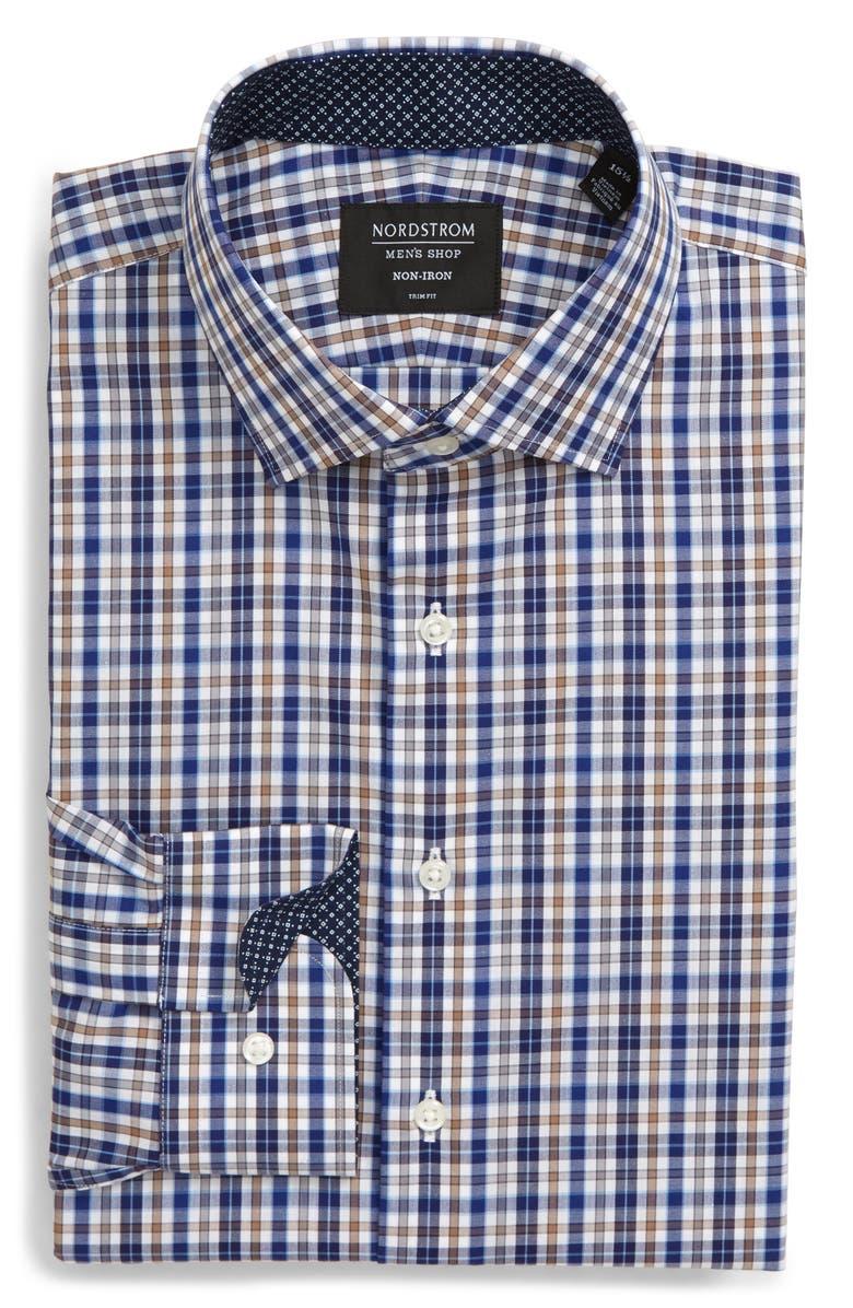 NORDSTROM MEN'S SHOP Trim Fit Non-Iron Plaid Dress Shirt, Main, color, BROWN OTTER