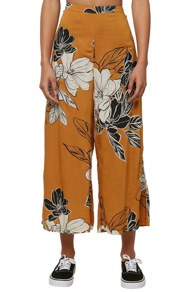 O'NEILL Sonya Floral Print Wide Leg Crop Pants, Main, color, AMBER