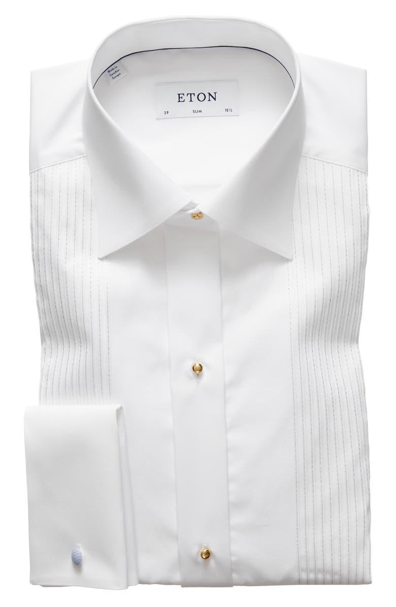 ETON Slim Fit Tuxedo Shirt, Main, color, WHITE