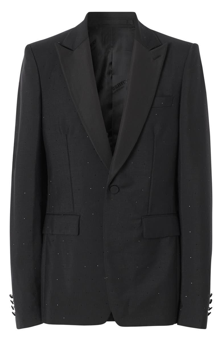 BURBERRY Crystal Embellished Sport Coat, Main, color, BLACK