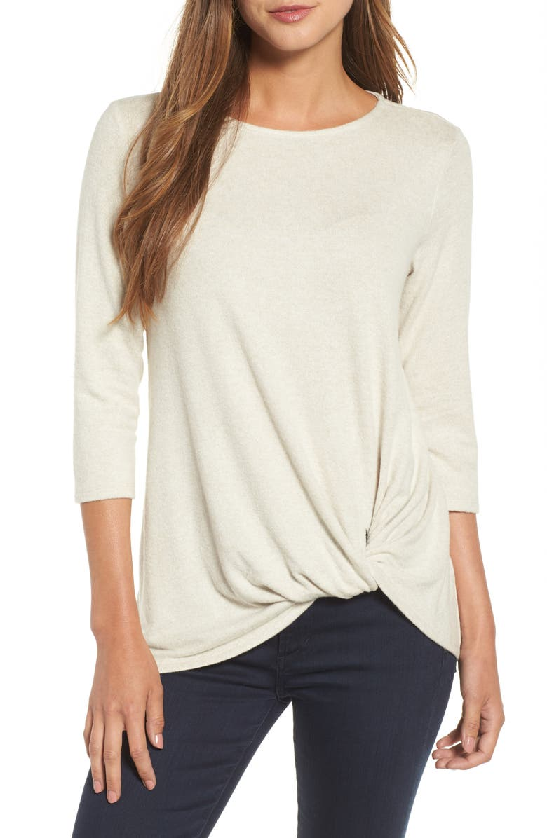 GIBSON Cozy Twist Front Pullover, Main, color, OATMEAL
