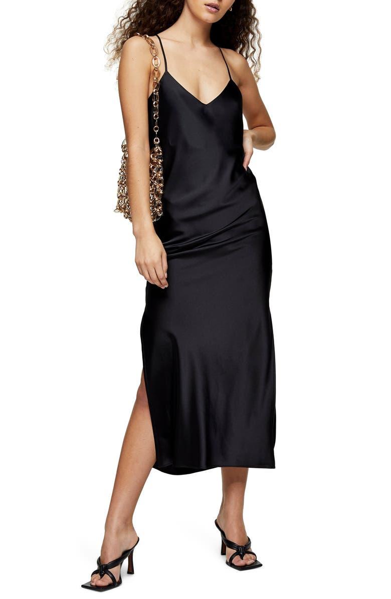 TOPSHOP Cowl Back Satin Slipdress, Main, color, BLACK