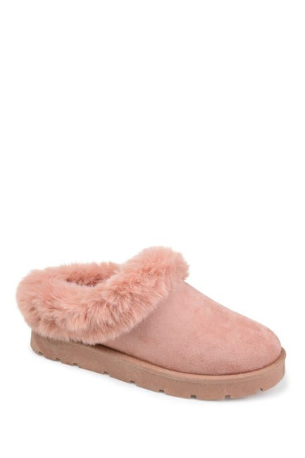 Image of JOURNEE Collection Whisp Faux Fur Trim Slipper