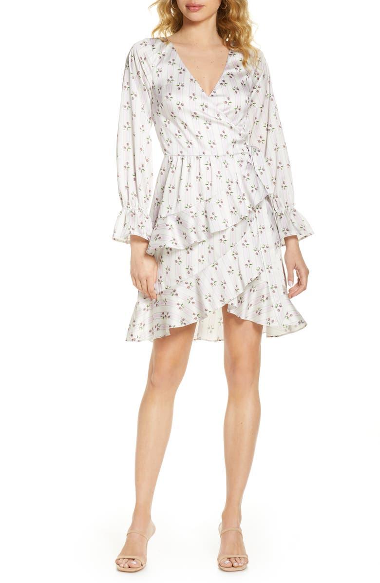 BELLEVUE THE LABEL Greta Long Sleeve Floral Wrap Dress, Main, color, 900