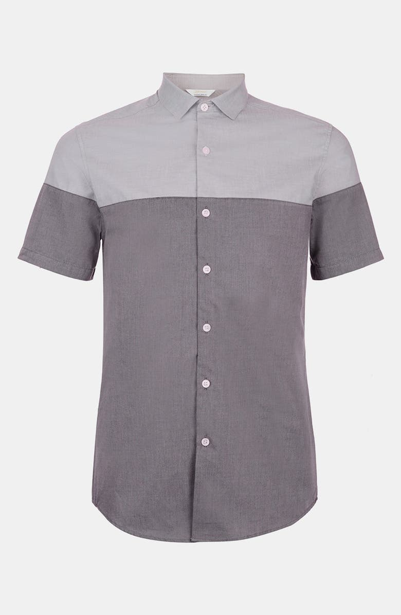 TOPMAN Split Chambray Shirt, Main, color, 020