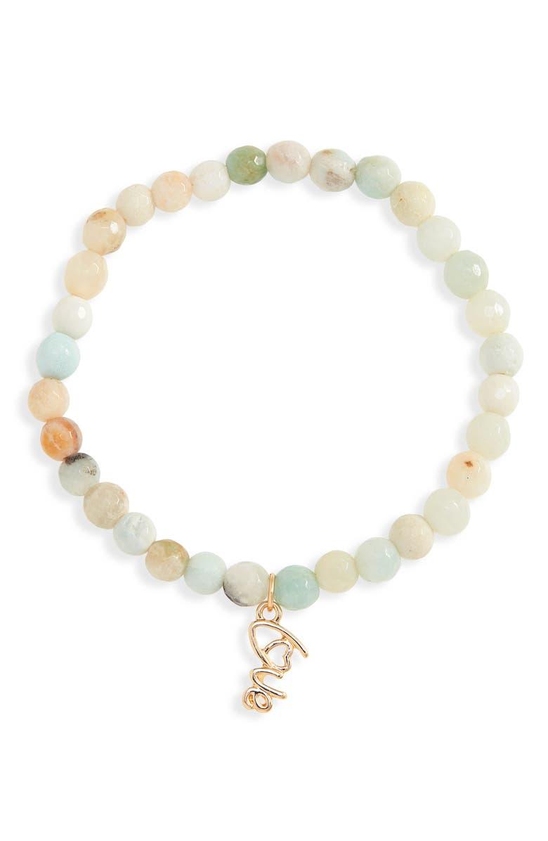 NORDSTROM Sentimental Beaded Pendant Bracelet, Main, color, AQUA- GOLD- LOVE