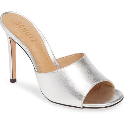 Schutz Bardana High Heel Slide Sandal, Metallic