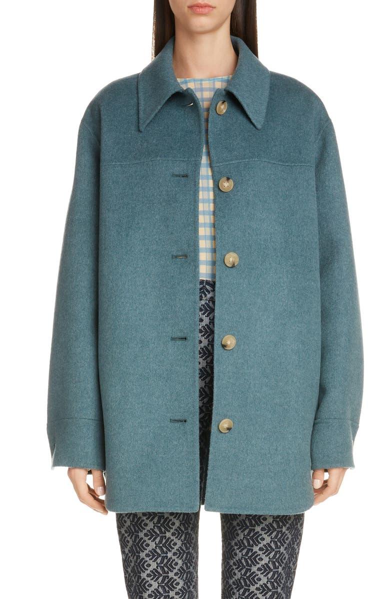 ACNE STUDIOS Otty Wool Shirt Jacket, Main, color, TEAL BLUE MELANGE
