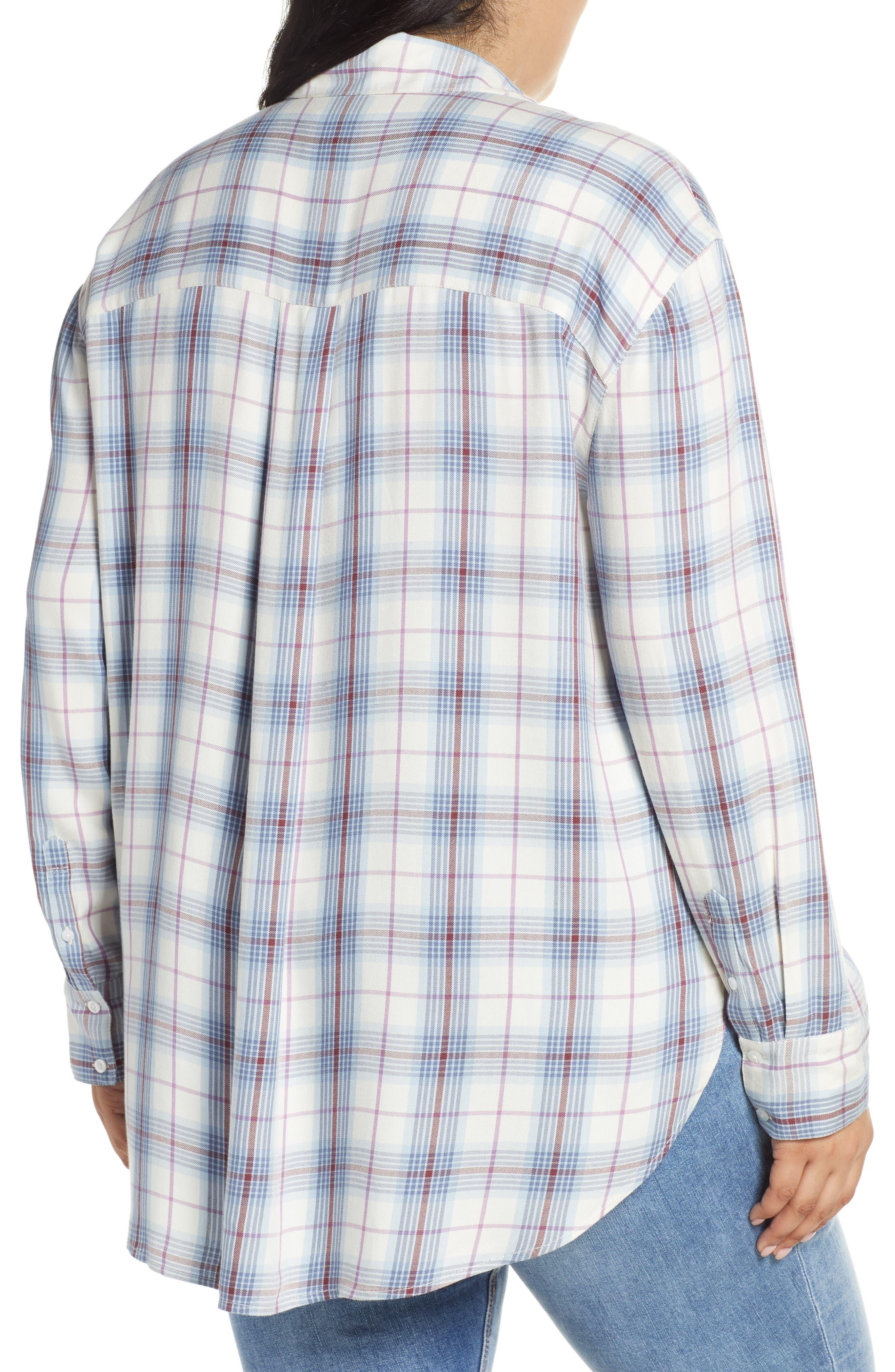 ,                             Lightweight Boyfriend Shirt,                             Alternate thumbnail 2, color,                             IVORY TARTINE PLAID