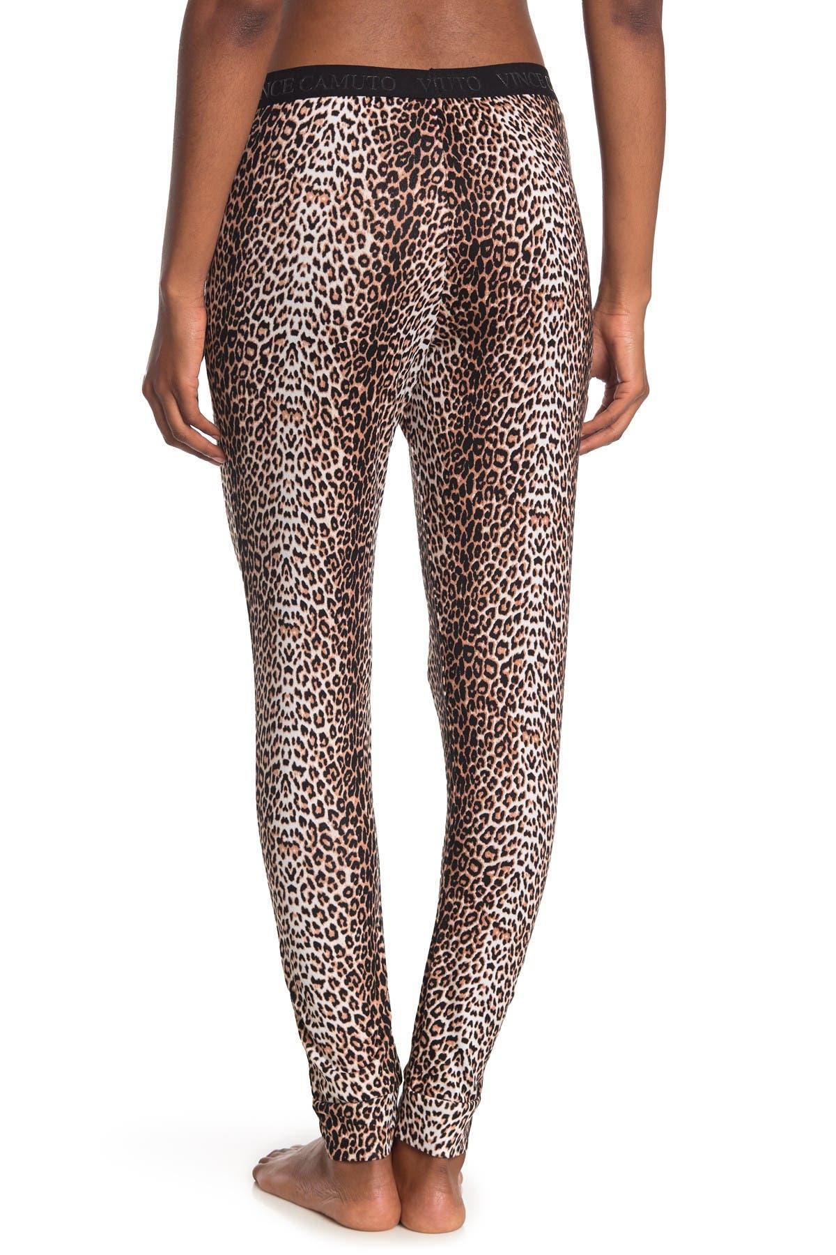 Vince Camuto Samantha Leopard Print Pajama Joggers