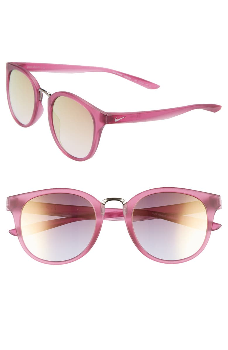 NIKE Revere 51mm Mirrored Round Sunglasses, Main, color, TRUE BERRY/ ROSE PINK