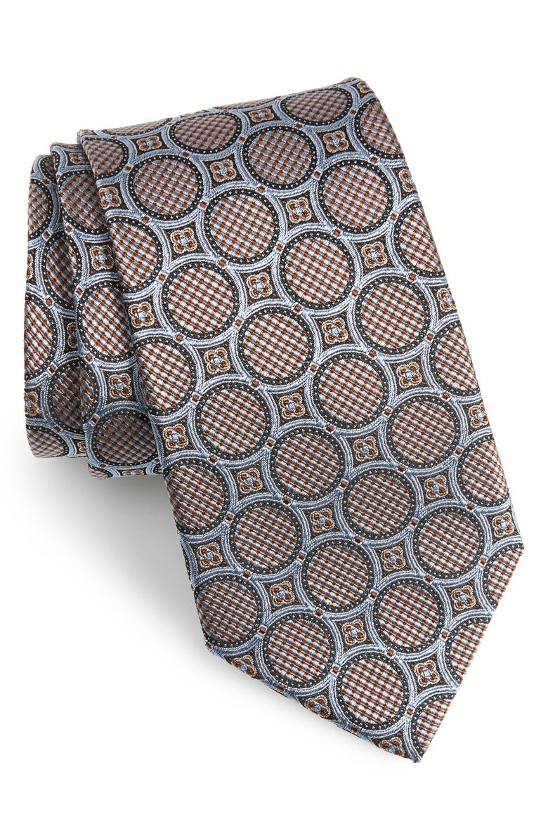 NORDSTROM MEN'S SHOP Medallion Silk Tie, Main, color, GRAY