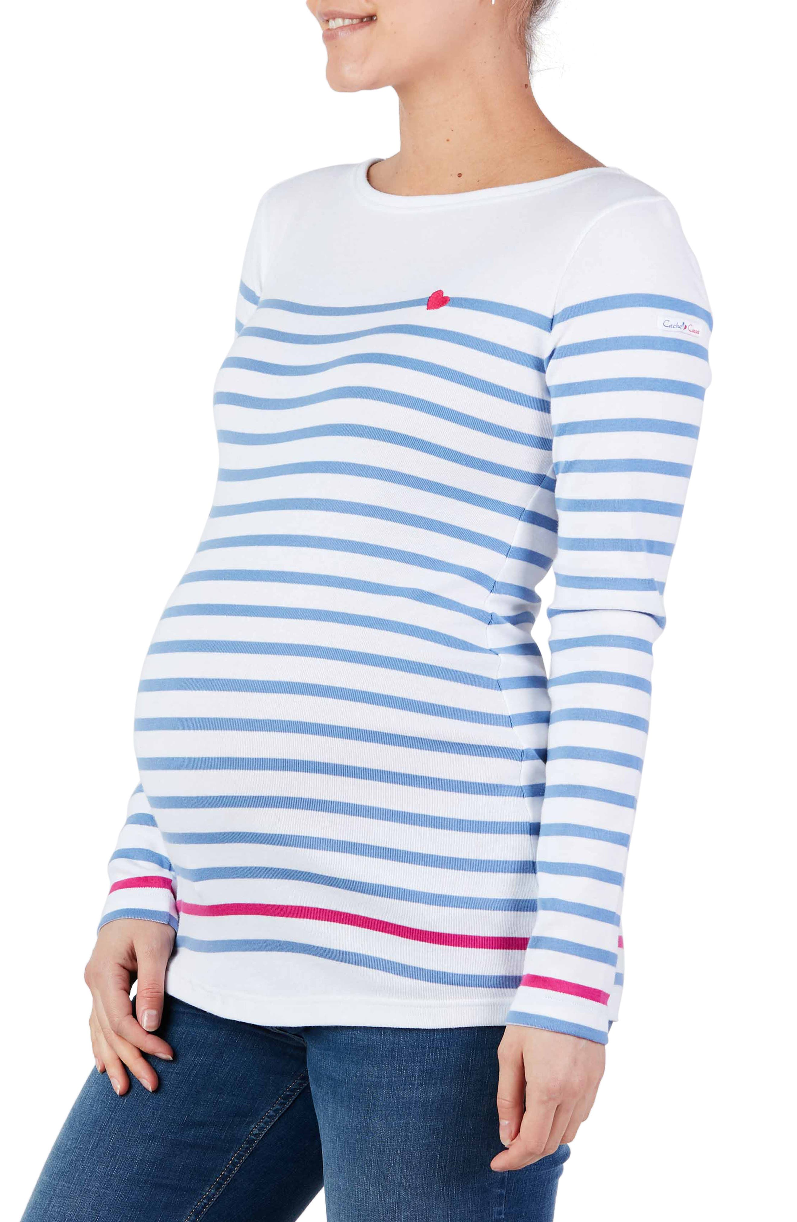 X Armor Lux C'Est La Vie Stripe Organic Cotton Maternity Top