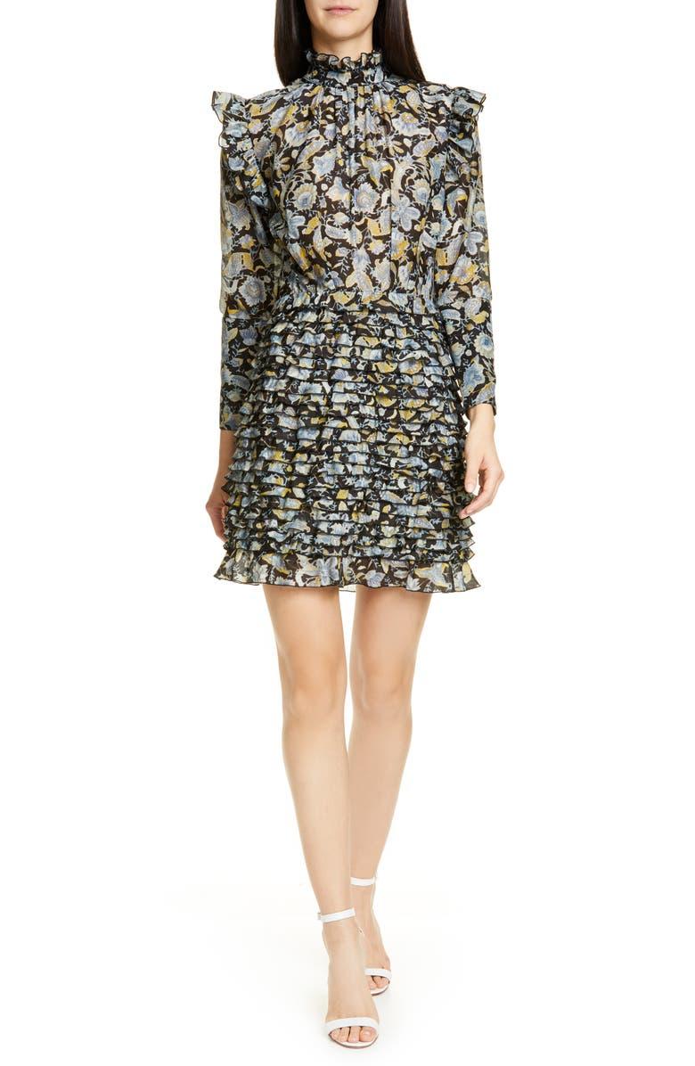 ROBERT RODRIGUEZ Nikita Floral Print Cotton & Silk Dress, Main, color, 001