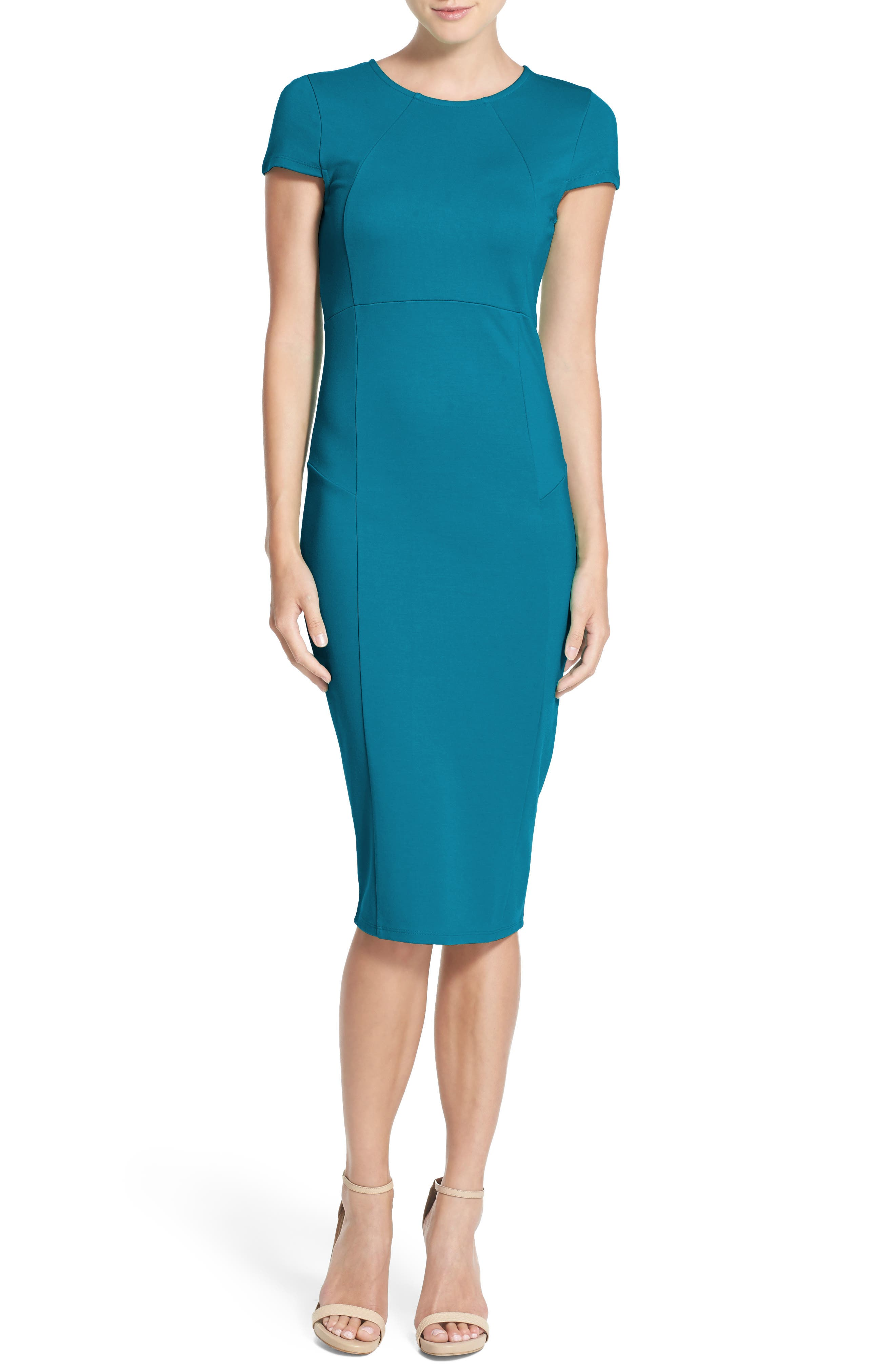 ,                             Ward Seamed Pencil Dress,                             Alternate thumbnail 18, color,                             409
