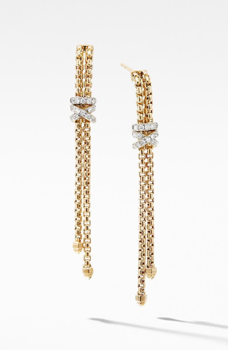 DAVID YURMAN Helena Box Chain Earrings in 18K Yellow Gold with Diamonds, Main, color, GOLD/ DIAMOND