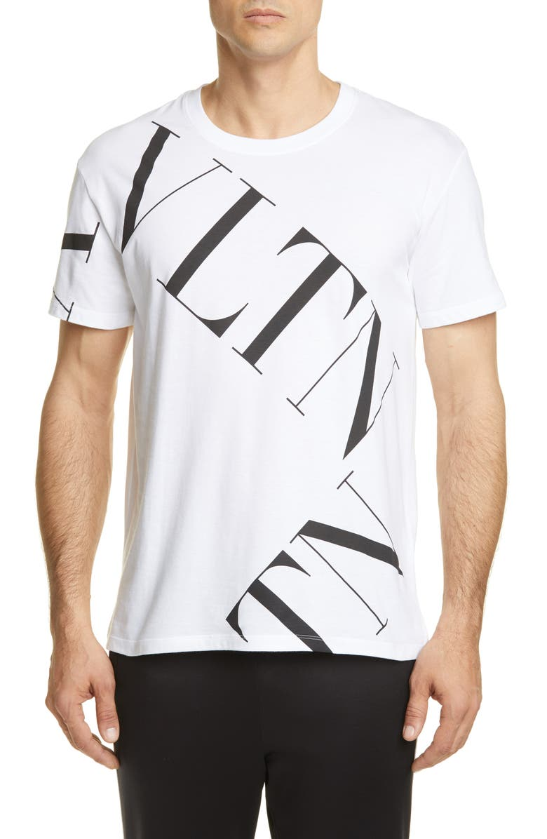VALENTINO VLTN Grid Print T-Shirt, Main, color, WHITE/ BLACK