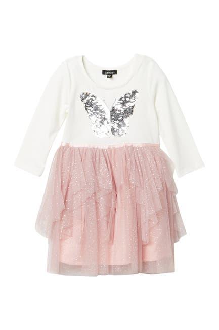 Image of Zunie 3/4 Sleeve Cascading Skirt Dress