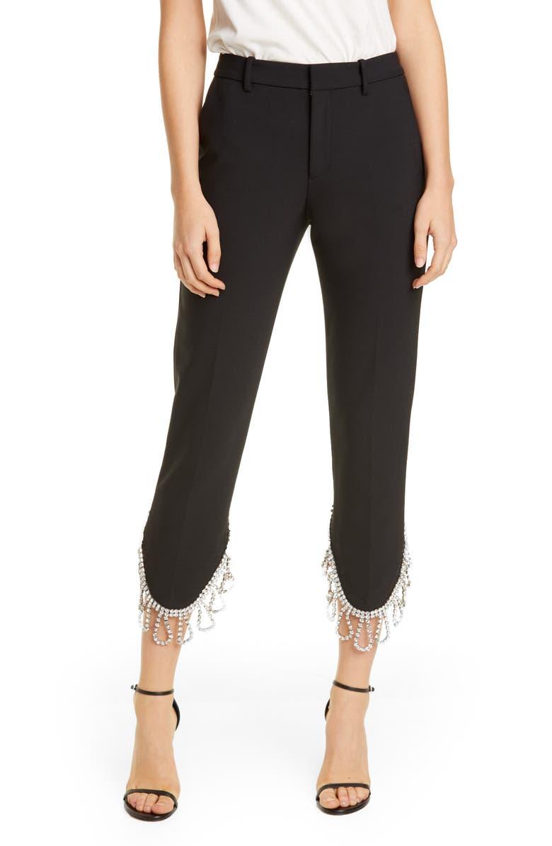 AREA Crystal Fringe Crop Trousers, Main, color, BLACK