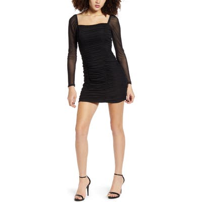 Leith Ruched Body-Con Minidress, Black