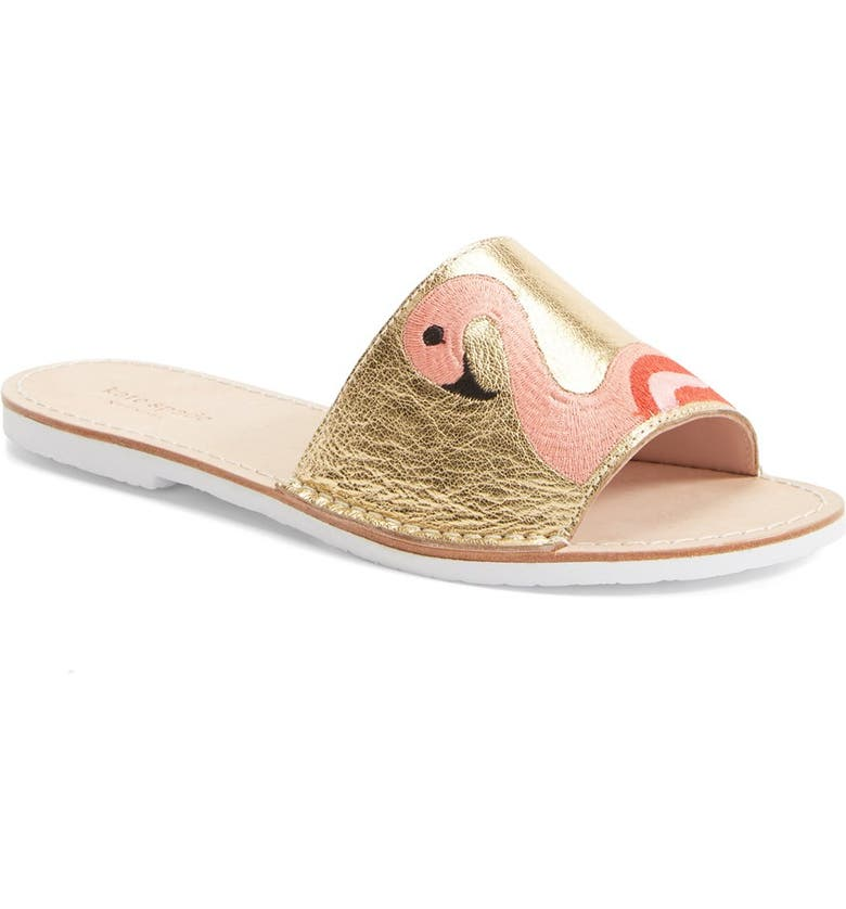 KATE SPADE NEW YORK 'iggy' metallic leather slide sandal, Main, color, 710