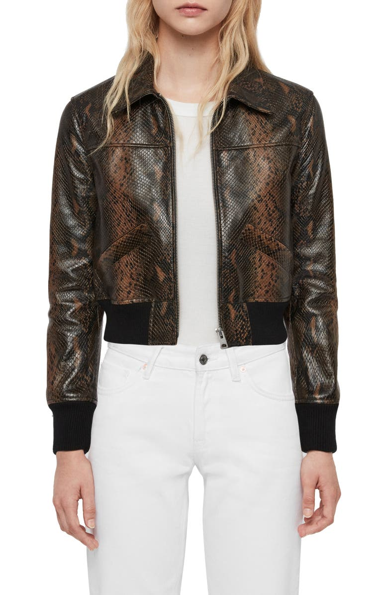 ALLSAINTS Pascao Oba Snake Print Leather Bomber, Main, color, KHAKI GREEN