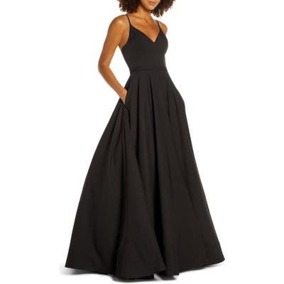 MAC Duggal V-Neck Crepe Ballgown, Black