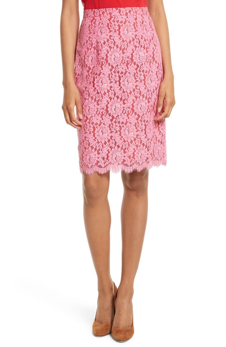 DIANE VON FURSTENBERG Lace Pencil Skirt, Main, color, 683