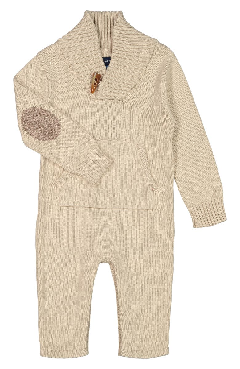 ANDY & EVAN Sweater Toggle Romper, Main, color, BEIGE