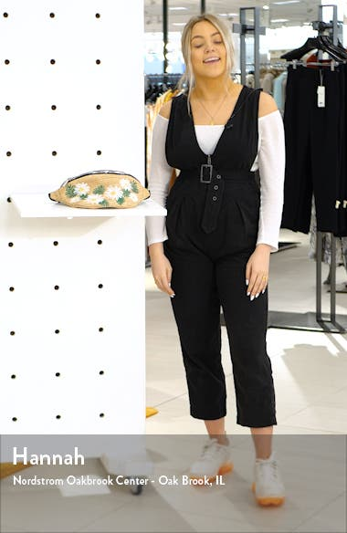 Penelope Woven Straw Belt Bag, sales video thumbnail