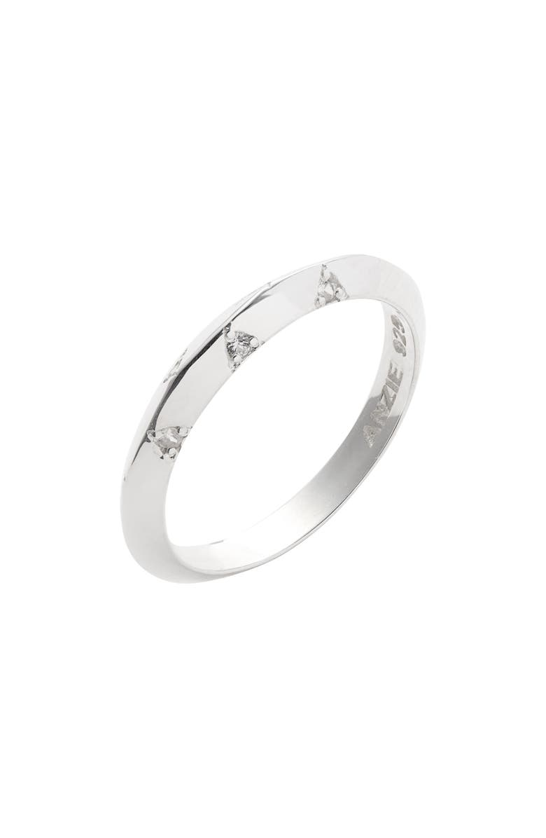 ANZIE Cleo Sapphire Stacking Ring, Main, color, SILVER/ SAPPHIRE