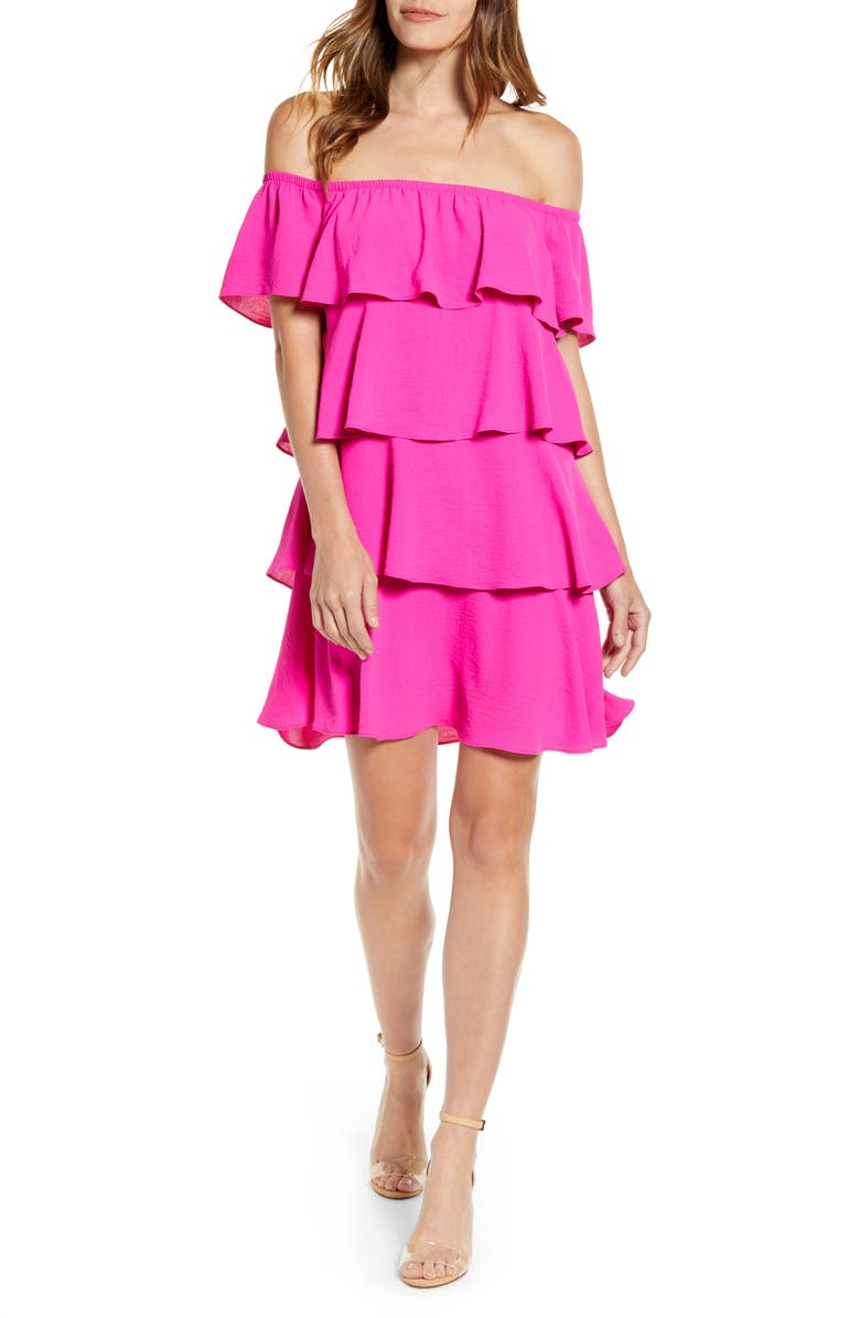 X Hot Summer Nights Natalie Off The Shoulder Ruffle Dress by Gibson