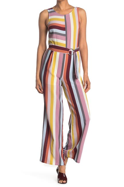 Image of BAILEY BLUE Striped Sleeveless Belted Jumpsuit