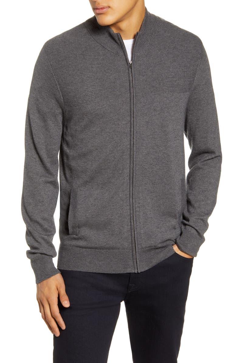 NORDSTROM MEN'S SHOP Zip Sweater, Main, color, GREY CHARCOAL HEATHER