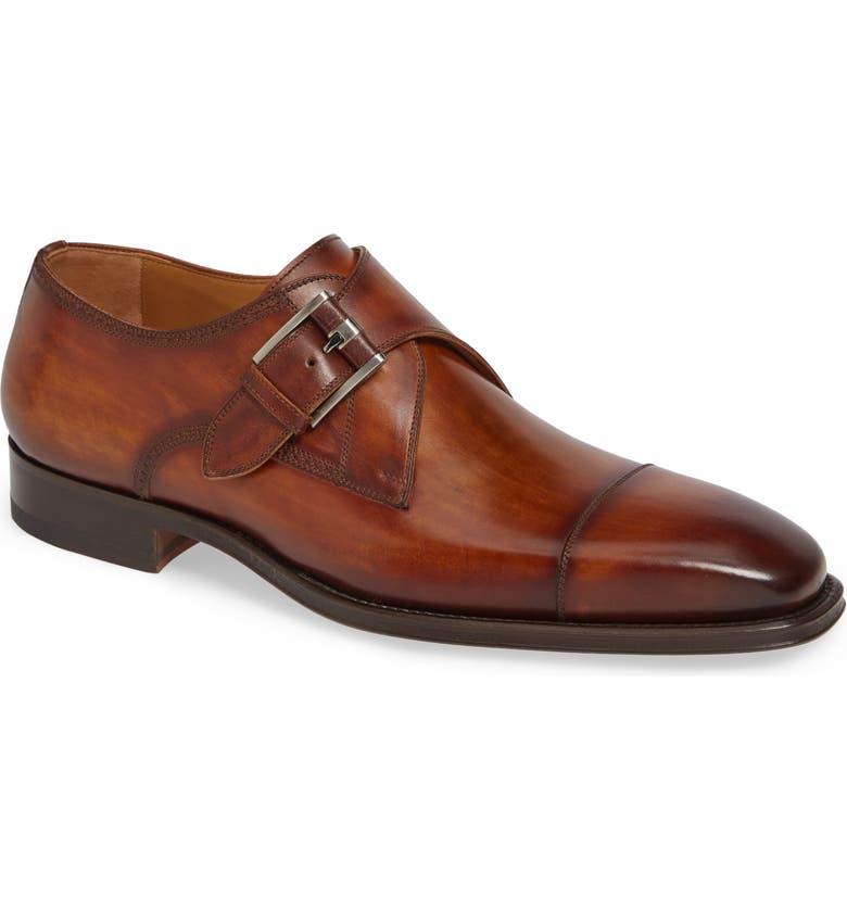 MAGNANNI Lennon Monk Strap Shoe, Main, color, CUERO LEATHER
