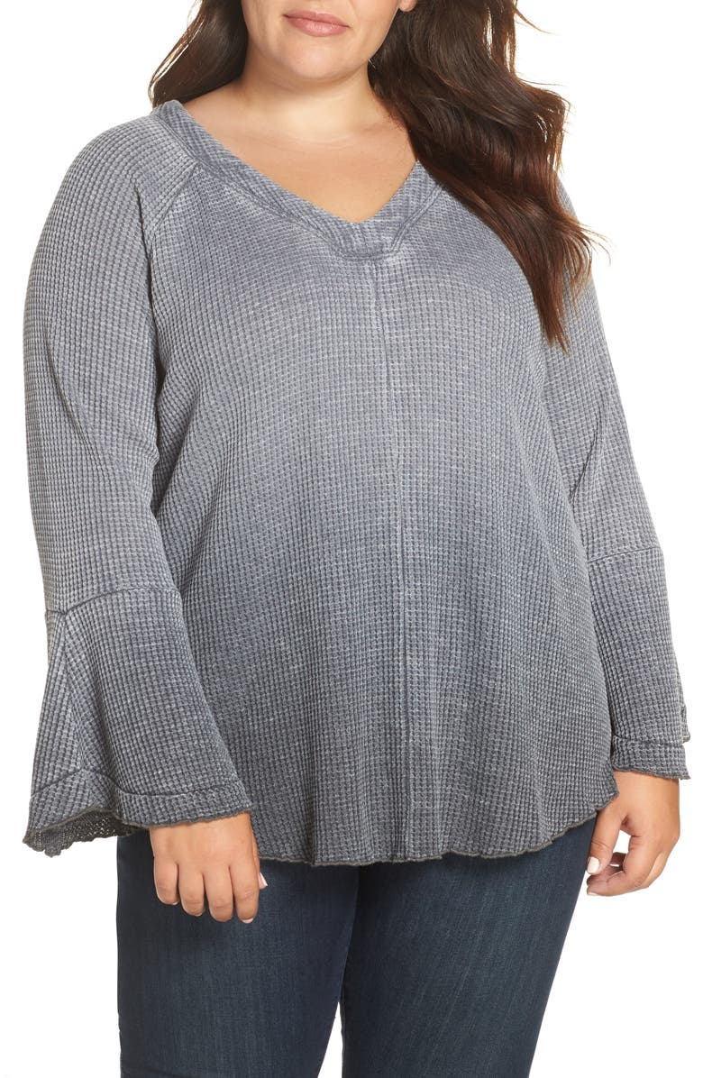 SEVEN7 Bell Sleeve Dye Dip Knit Top, Main, color, 001